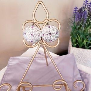 Jewelry - Silver/Purple stone Dangle Earrings